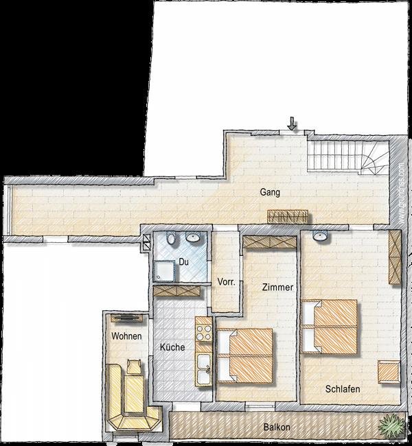 Grundriss Wohnung Talblick